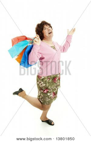 Funny picture of a female impersonator having a great time shopping.  Isolated on white.