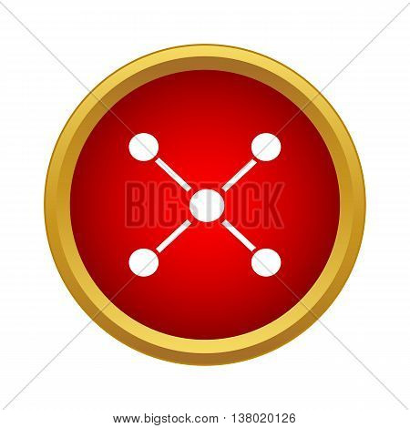 Nerve cells icon in simple style in red circle. Science symbol