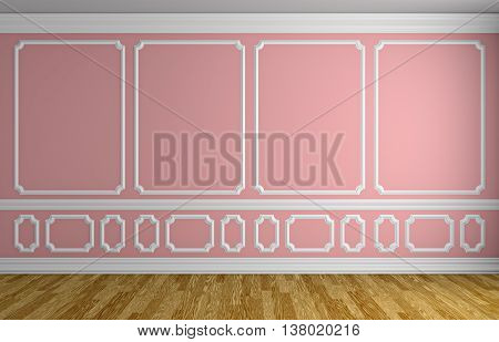 Pink Wall In Classic Style Empty Room