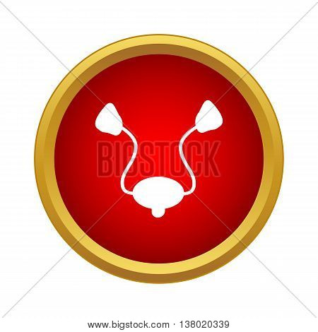 Human ear membranes icon in simple style in red circle. Organs symbol