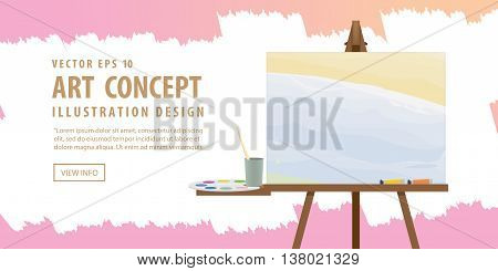 Banner Art easel and canvas with Equipment for painting for advertising and presentation about art subject study illustration vector.