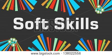 Soft skills text written over dark colorful background.