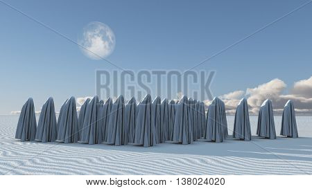 Many Figures covered in cloth 3D Render