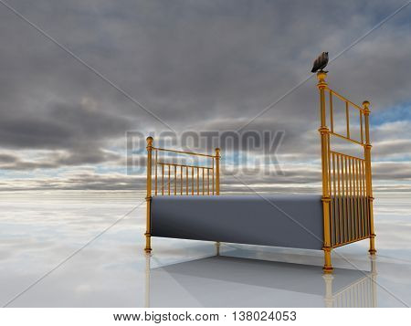 Bird sits atop brass bed 3D Render