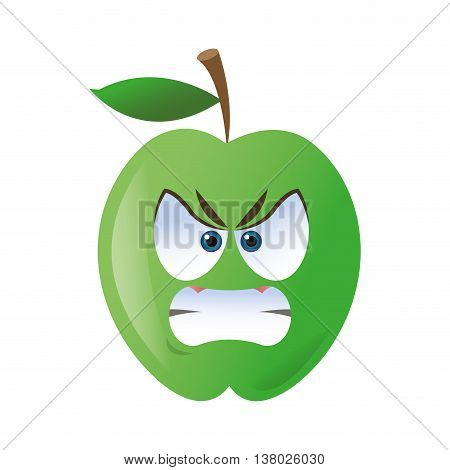 flat design angry apple cartoon icon vector illustration