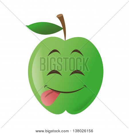 flat design cute tongue out apple cartoon icon vector illustration
