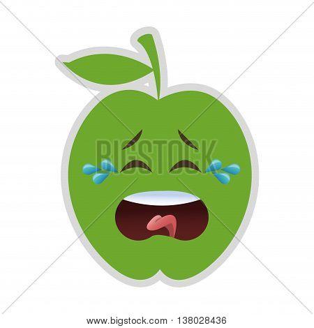 flat design crying apple cartoon icon vector illustration