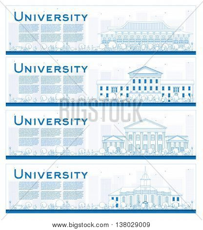 Outline Set of university study banners. Vector illustration. Students go to the main building of university. Skyline with blue sky and tree. Banner with copy space.