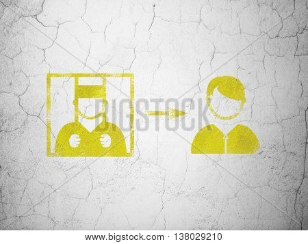 Law concept: Yellow Criminal Freed on textured concrete wall background