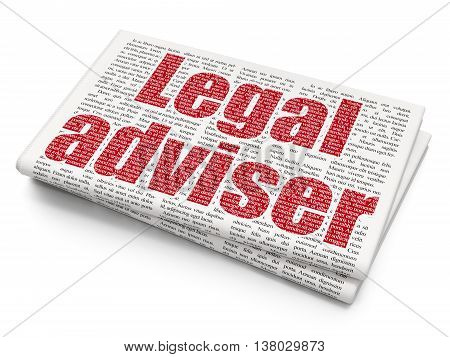 Law concept: Pixelated red text Legal Adviser on Newspaper background, 3D rendering