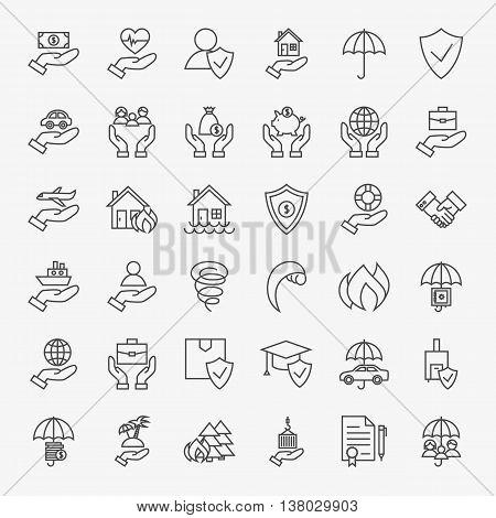 Insurance Line Art Design Icons Big Set