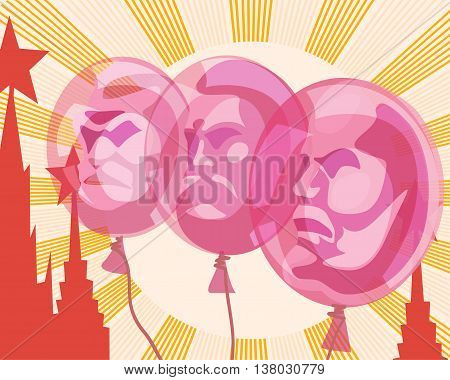 Balloons with the portraits of Lenin Marx and Engels on the background of the sun and the Red square depicted in the style of Soviet poster. Satire parody vector illustration.