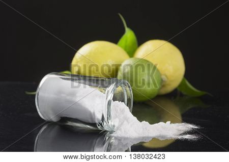 baking soda sodium bicarbonate Medicinal and household Uses on black bachground