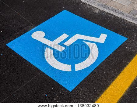 Sign disabled or handicapped detail of a signal in a parking support