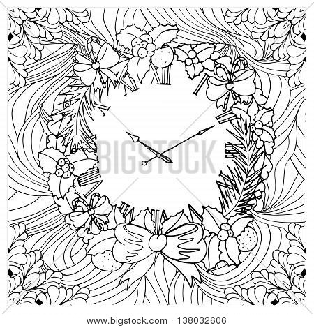 Black vector mono color illustration.Adult Coloring book page design, for adults or kids. Vector template.Ornamental border and frame