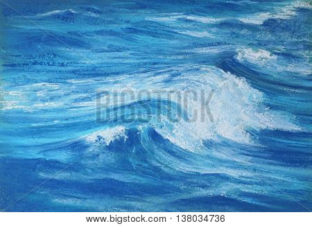 blue ocean wave with white foam - pastel drawn sea with artistic texture