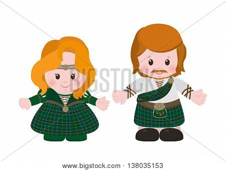 Cartoon characters of Scots man and woman in national dress tartan. Vector illustration