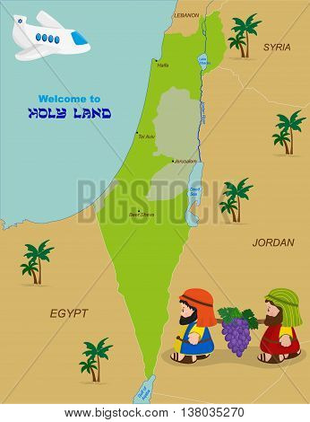 Welcome to Holy Land map of Israel with cartoon characters of Two spies of Israel carrying grapes. Vector illustration