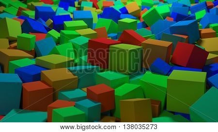 abstract 3d rendering background with geometry shapes droped on the floor