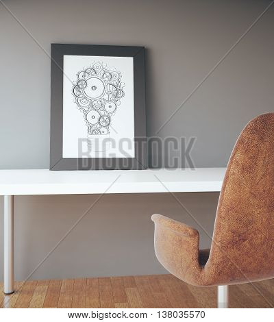 Picture frame with abstract gear lightbulb sketch on white table brown chair and wooden floor on concrete wall background. Idea concept. 3D Rendering