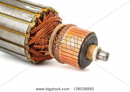 Copper Coils inside Electric Motor on a white background