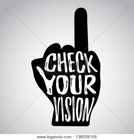Check your vision message on hand with raised ring finger
