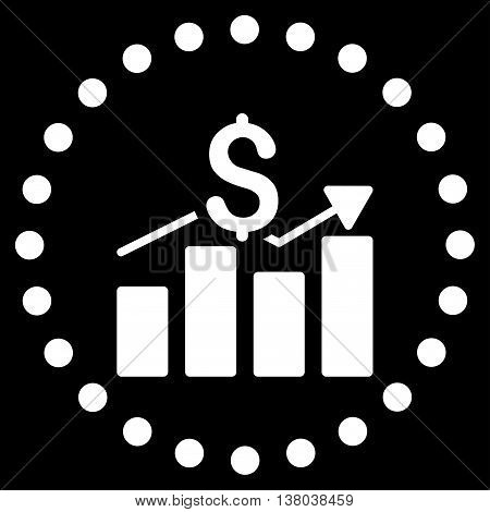 Sales Bar Chart vector icon. Style is flat circled symbol, white color, rounded angles, black background.
