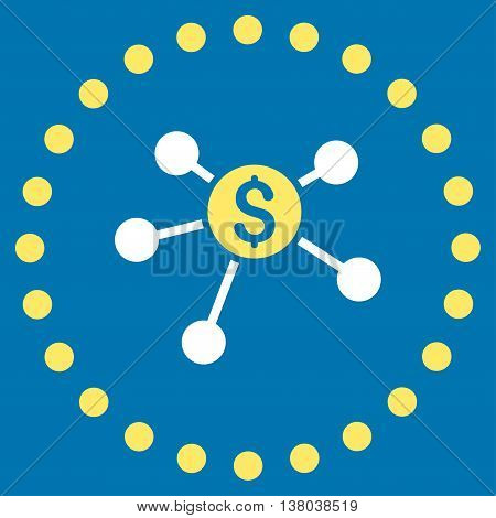 Bank Branches vector icon. Style is bicolor flat circled symbol, yellow and white colors, rounded angles, blue background.