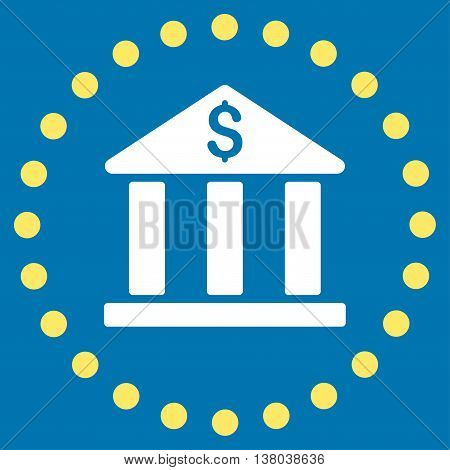Bank Building vector icon. Style is bicolor flat circled symbol, yellow and white colors, rounded angles, blue background.