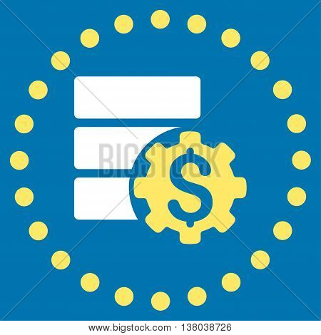 Bank Database Options vector icon. Style is bicolor flat circled symbol, yellow and white colors, rounded angles, blue background.