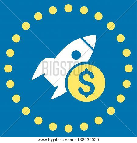 Business Startup vector icon. Style is bicolor flat circled symbol, yellow and white colors, rounded angles, blue background.