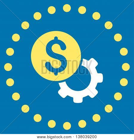 Development Cost vector icon. Style is bicolor flat circled symbol, yellow and white colors, rounded angles, blue background.
