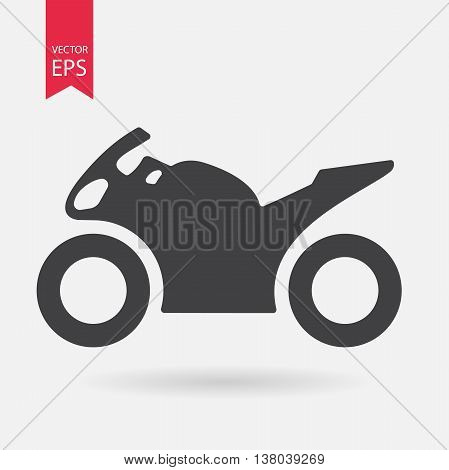 Motorcycle Icon. Sportbike sign isolated on white background. Flat design style. Vector illustration