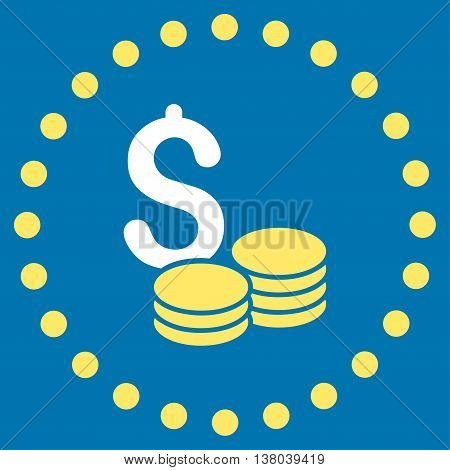 Dollar Cash vector icon. Style is bicolor flat circled symbol, yellow and white colors, rounded angles, blue background.