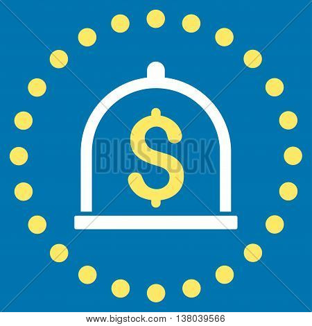 Dollar Deposit vector icon. Style is bicolor flat circled symbol, yellow and white colors, rounded angles, blue background.