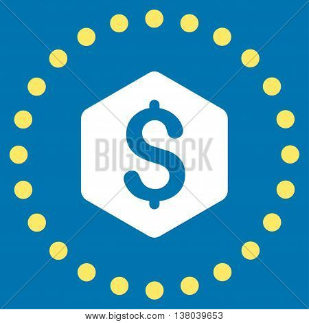 Dollar Hexagon vector icon. Style is bicolor flat circled symbol, yellow and white colors, rounded angles, blue background.