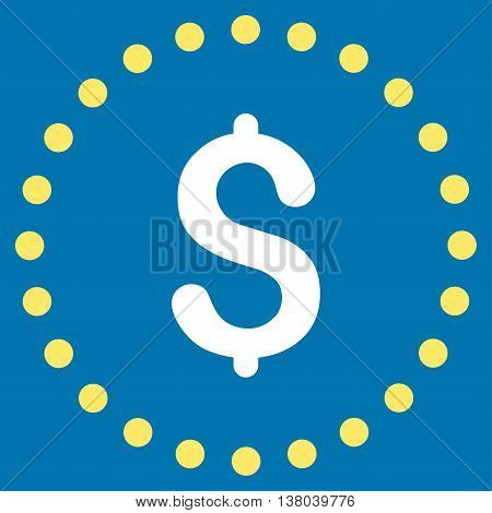 Dollar Symbol vector icon. Style is bicolor flat circled symbol, yellow and white colors, rounded angles, blue background.