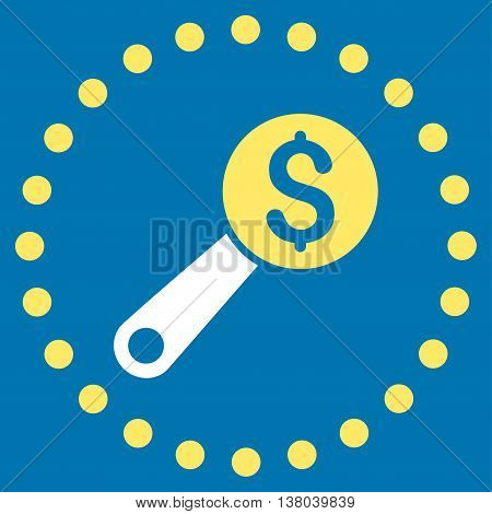 Financial Audit vector icon. Style is bicolor flat circled symbol, yellow and white colors, rounded angles, blue background.