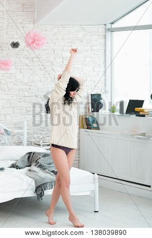 Woman Brunette Step Tiptoe Morning Pullover Barefoot Awakening Bedroom Concept