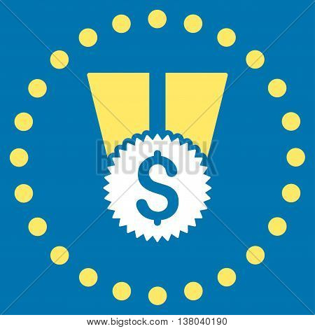 Financial Medal vector icon. Style is bicolor flat circled symbol, yellow and white colors, rounded angles, blue background.