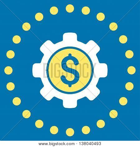 Financial Options vector icon. Style is bicolor flat circled symbol, yellow and white colors, rounded angles, blue background.