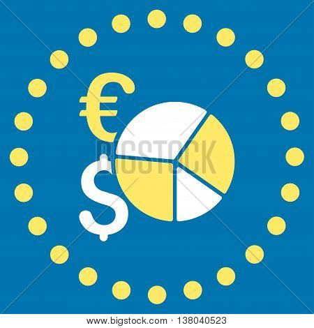 Financial Pie Chart vector icon. Style is bicolor flat circled symbol, yellow and white colors, rounded angles, blue background.