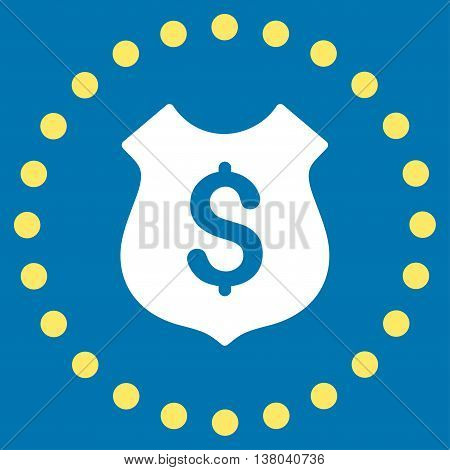 Financial Shield vector icon. Style is bicolor flat circled symbol, yellow and white colors, rounded angles, blue background.