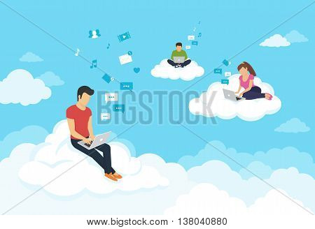 Young people sitting on the clouds in the sky using laptop and typing messages to friends. Flat modern illustration of working, social networking, elearning and texting using cloud storage