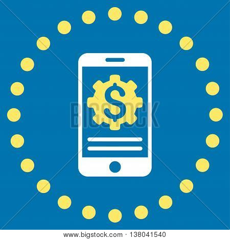 Mobile Bank Options vector icon. Style is bicolor flat circled symbol, yellow and white colors, rounded angles, blue background.