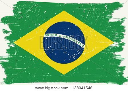 Brazilian flag with grunge border and texture.Vector Brazilian flag.