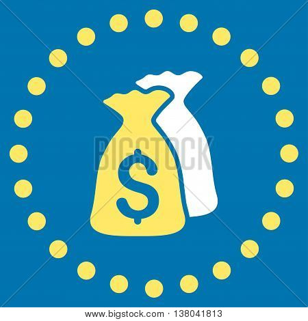 Money Bags vector icon. Style is bicolor flat circled symbol, yellow and white colors, rounded angles, blue background.