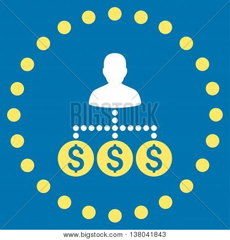 Money Collector vector icon. Style is bicolor flat circled symbol, yellow and white colors, rounded angles, blue background.