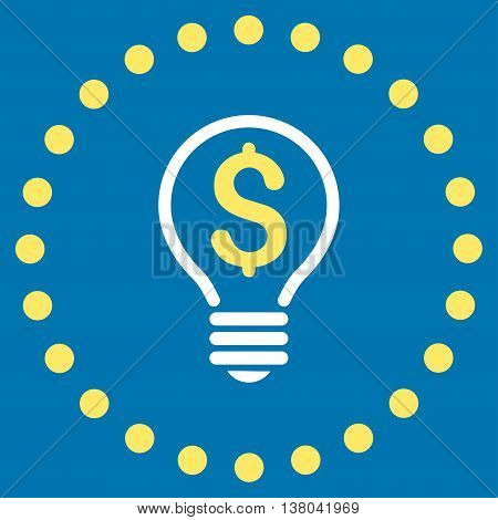Patent vector icon. Style is bicolor flat circled symbol, yellow and white colors, rounded angles, blue background.