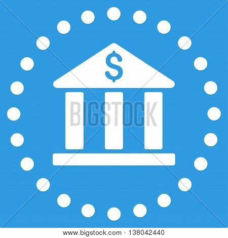 Bank Building vector icon. Style is flat circled symbol, white color, rounded angles, blue background.